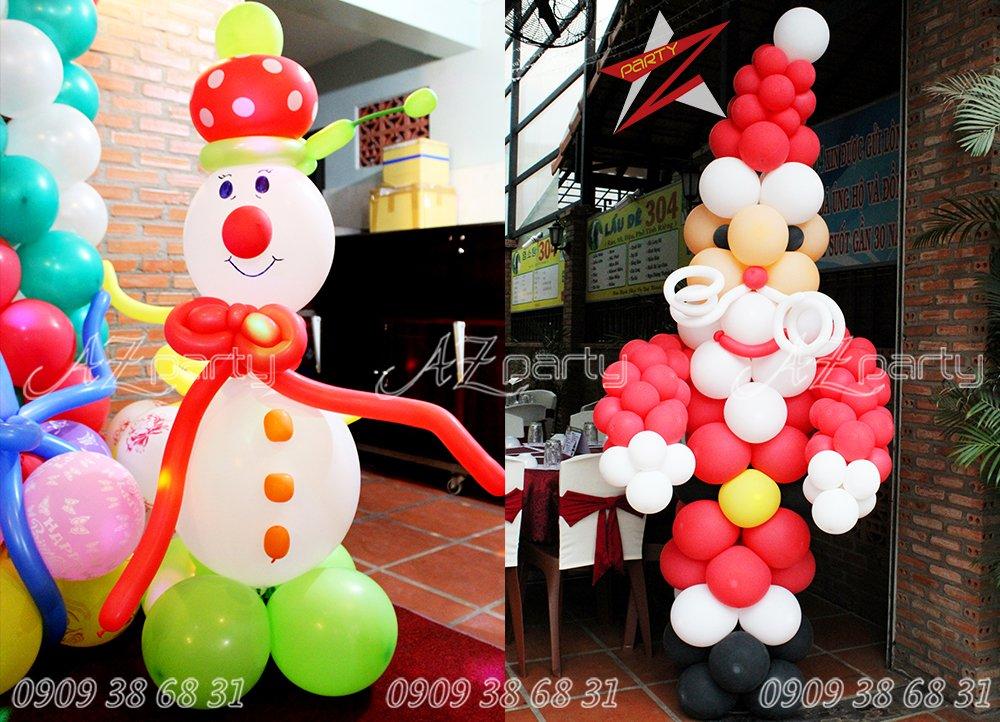Trang trí Người tuyết, Ông già noel bằng bong bóng nghệ thuật