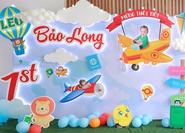 Trang trí backdrop sinh nhật 3D cho bé trai