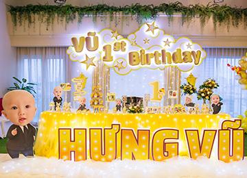 Trang trí sinh nhật bé Hưng Vũ- tông vàng gold