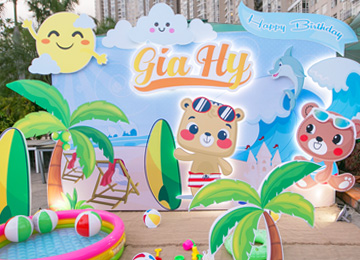 Tổ chức sinh nhật bé Gia Hy- chủ đề gấu đi biển