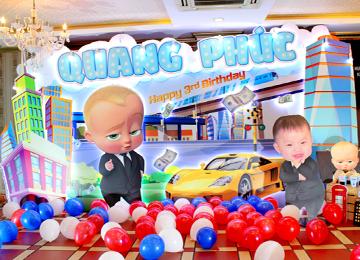 Trang trí sinh nhật 3 tuổi bé trai Quang Phúc- chủ đề Baby Boss